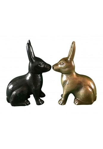 Hare / Jack Rabbit Metal Statuette, Handcrafted Decorative Animal Sculpture
