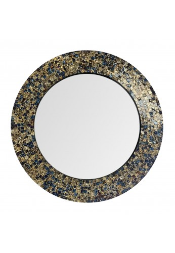 "DecorShore 20"" Jewel Tone Accent Mirror, Round Decorative Wall Mirror Embossed Glass Mosaic Tile Frame (Fired Gold)"
