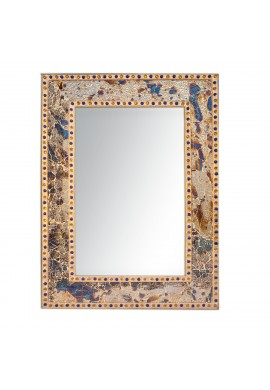 Fired Gold Crackled Glass Decorative Wall Mirror - 30X24 Mosaic Glass Wall Mirror, Vanity Mirror, Glamorous (Fired Gold)