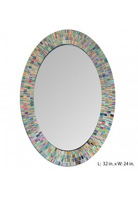 "Bohemian Rainbow Rhapsody Wall Mirror -Glass Mosaic Decorative Wall Mirror, Multi Color Spectrum Wall Mountable, 24"" Multi-Color Framed Mirror (32 IN. X 24 IN. OVAL)"