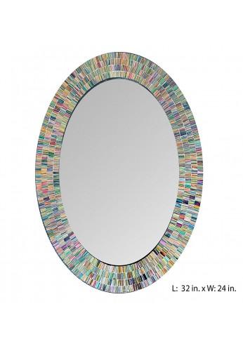 "Bohemian Rainbow Rhapsody Wall Mirror -Glass Mosaic Decorative Wall Mirror, Multi Color Spectrum Wall Mountable, 32"" Multi-Color Framed Mirror (32 IN. X 24 IN. OVAL)"