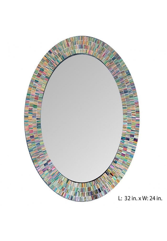 Bohemian Rainbow Rhapsody Wall Mirror -Glass Mosaic Decorative Wall Mirror