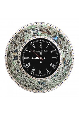 "DecorShore 22.5"" Mosaic Wall Clock, Decorative Round Wall Clock (Fired Jade / Silver)"