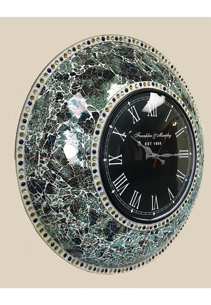 "DecorShore 22.5"" Mosaic Wall Clock, Decorative Round Wall Clock (Fired Jade / Silver)"