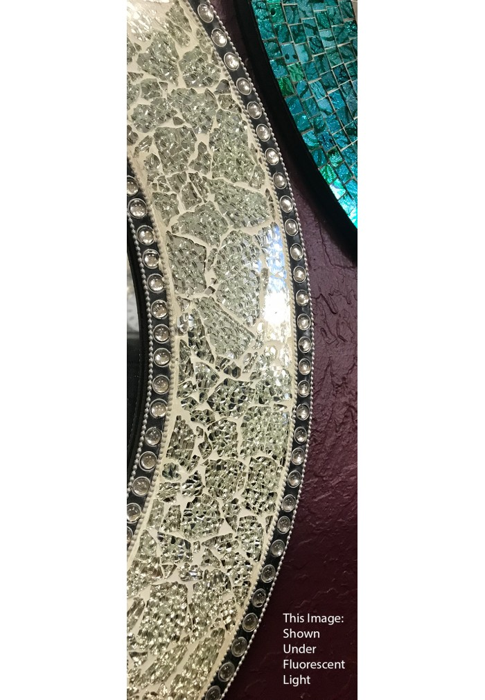 """24"""" Silver Round Wall Mirror, Crackled Glass Mosaic, Decorative Design by DecorShore"""