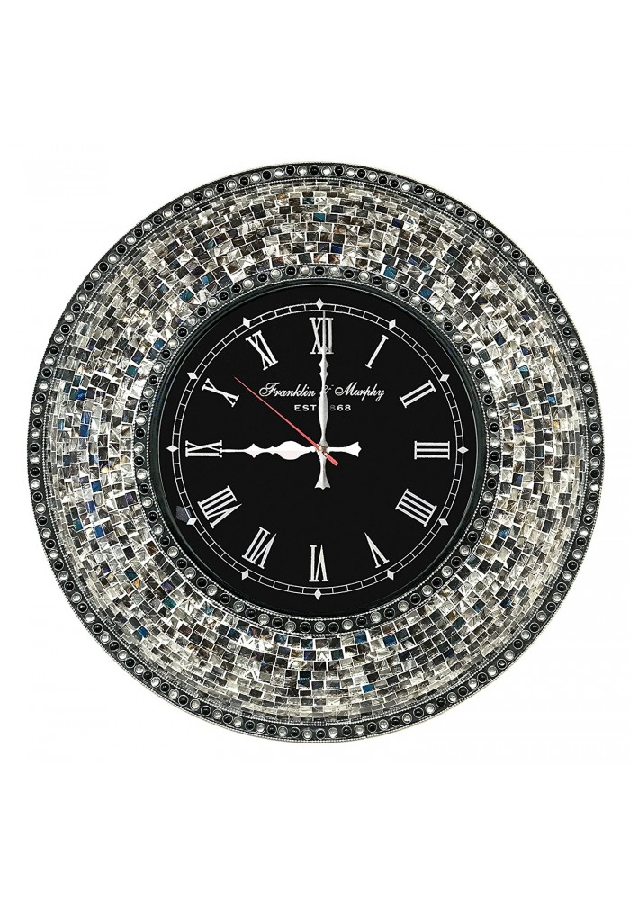 "DecorShore 22.5"" Mosaic Wall Clock, Decorative Round Wall Clock (Fired Silver)"