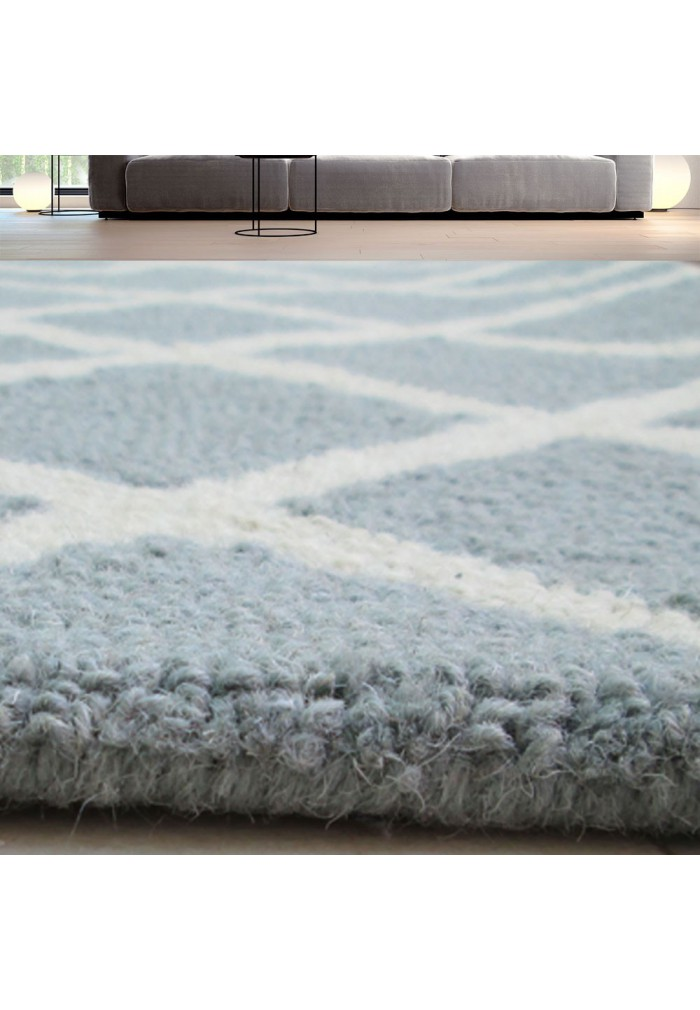 DecorShore Aroa Wave Collection, Contemporary Area Rug, Hand Tufted, 100% Wool, Handmade Moroccan Trellis Design, Thick Plush Pile, Light Blue