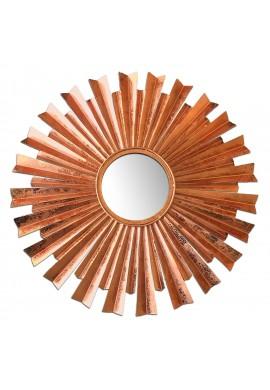 """32"""" Sunburst Wall Mirror in Brilliant Copper Flake Finish, Galvanized Iron Metal Wall Sculpture, Copper Patina Accent Wall Decor"""