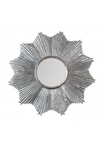 "32"" DecorShore Starburst Wall Mirror in Antiqued Silver, Galvanized Iron Metal Wall Art, Silver Flake Patina Accent Wall Decor"