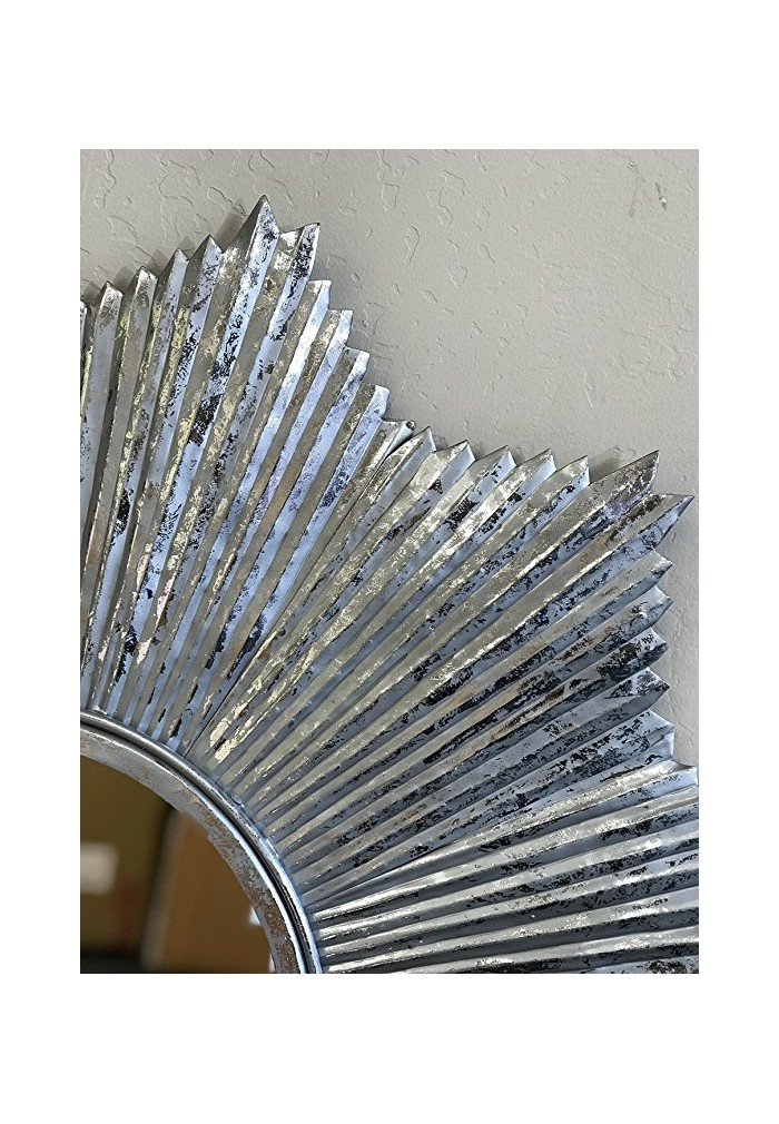 "32"" DecorShore Starburst Wall Mirror in Antiqued Silver, Galvanized Iron Metal Wall Art"