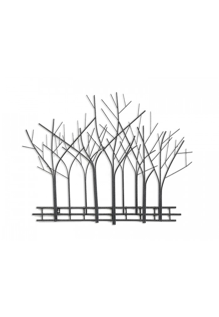 Decorshore Winter Trees Perspective Wall Sculpture Contemporary Metal Wall Art Artisan Handcrafted Wire Sculpture