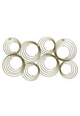 DecorShore Concentric Circles Gold Metal Wall Art, Mid Century Modern Geometric Circle Design Wall Decor, 33 in x 17 in. Wire Wall Decor
