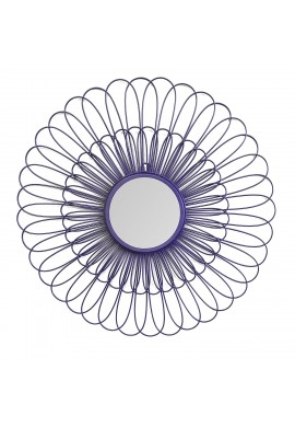 DecorShore Violet Daisy Decorative Wall Mirror, 27 inch Wire Flower Metal Wall Art with Mirror, Purple Wall Decor