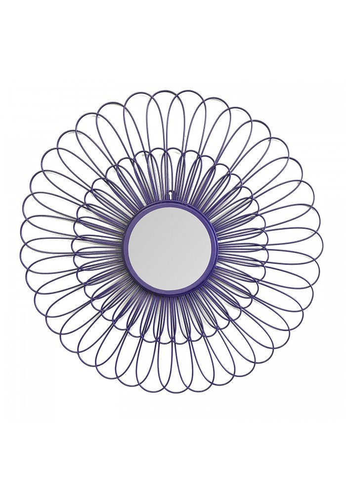DecorShore Violet Daisy Decorative Wall Mirror, 27 inch Wire Flower Metal Wall Art with Mirror