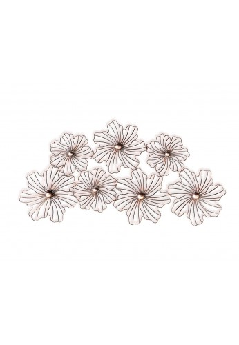 Floral Wall Hanging - Mid Century Wall Decor, Lotus Flower Design Wall Art Sculpture in Rose Gold Finish
