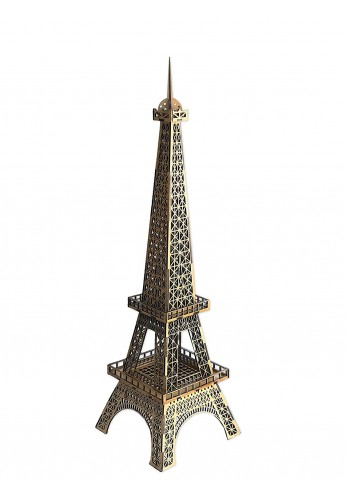 Decorative Wooden Eiffel Tower Statue, 32 inch Eiffel Tower Replica, Carved Wood Famous Landmark Decor Accessories