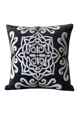 Sienna 18 inch Artisan Crafted Decorative Throw Pillow Cushion Cover - Luxe Velvet in Dark Charcoal Gray w/Ornamental Damask Pattern in White (1)