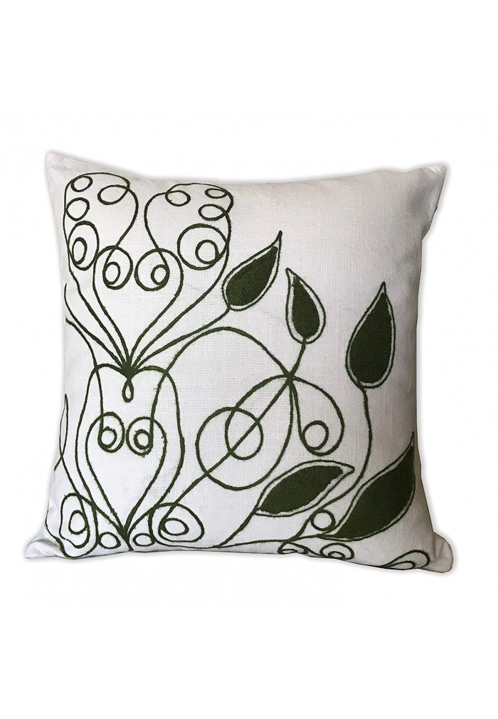 DecorShore Harper 18 inch Artisanal Decorative Throw Pillow Cover - Mid Century Modern Line Art Pattern w/Curly Leaf Decorative Embellishments (1)