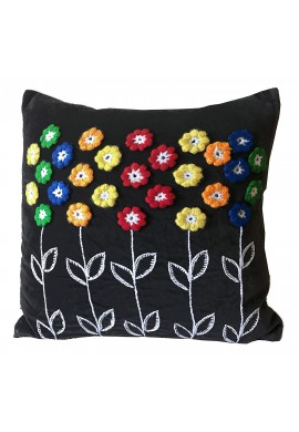 DecorShore 'Zoe' 18 inch Artisanal Decorative Throw Pillow Cover - Rainbow Flower Crocheted & Embroided Decorative Embellishments