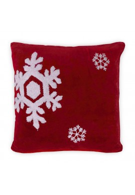 Dancing Snowflakes 18 inch Artisanal Decorative Red Throw Pillow Cover - Winter Holiday Snow Pattern