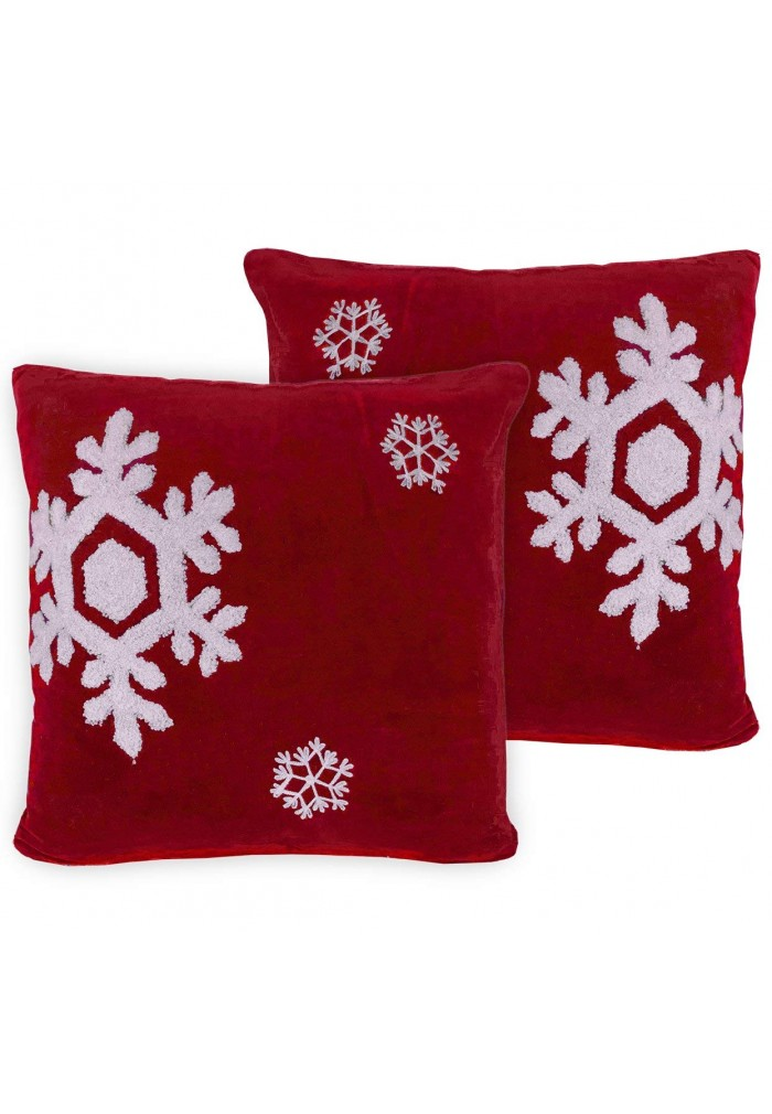 Dancing Snowflakes 40 Inch Artisanal Decorative Red Throw Pillow Unique Winter Throw Pillow Covers