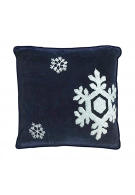 Dancing Snowflakes 18 inch Navy Blue Decorative Throw Pillow Cover - Winter Holiday Snow Pattern