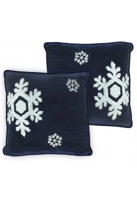 Dancing Snowflakes 18 inch Navy Blue Decorative Throw Pillow Cover
