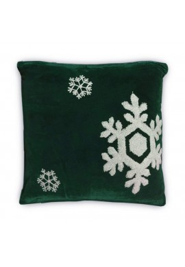 Dancing Snowflakes 18 inch Green Decorative Throw Pillow Cover - Winter Holiday Snow Pattern