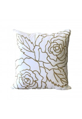 Isabella 18 inch Artisan Crafted Velvet Decorative Throw Pillow Cover with Hand Beaded Gold Rose Pattern (1, White/Gold)