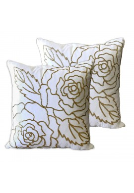 Decorative Throw Pillow Cover with Hand Beaded Gold Rose Pattern