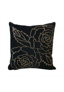 Isabella 18 inch Artisan Crafted Velvet Decorative Throw Pillow Cover with Hand Beaded Gold Rose Pattern