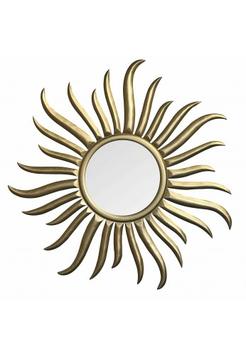 """DecorShore Roi Soleil - Hand-Carved & Gilded Wood Sun Wall Sculpture & Mirror - 35"""" Rococo Style Decorative Art Wall Mirror"""