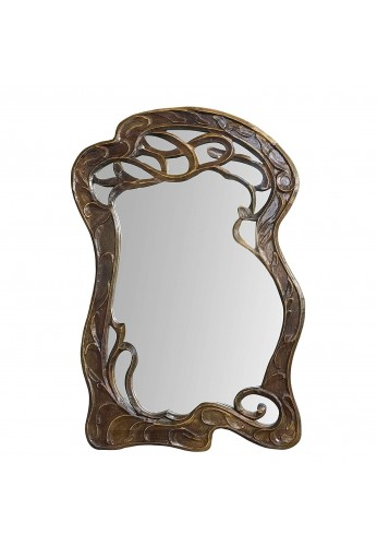 DecorShore Vienna - 30 in x 20 in Antique Style Hand Carved Mango Wood Curving Branches Design Decorative Wall Mirror