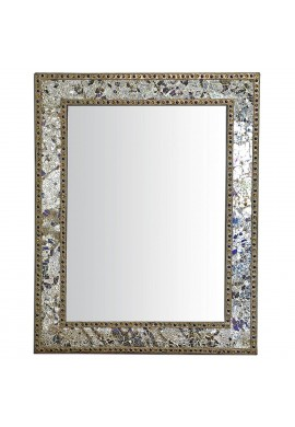 Crackled Glass Decorative Wall Mirror - 30X24 Mosaic Glass Wall Mirror, Vanity Mirror, Glamorous Silver & Gold (Mixed Metallics)