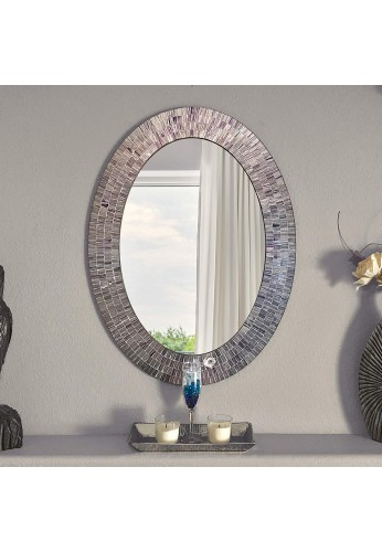 Bohemian Rhapsody Wall Mirror -Purple Rain - Glass Mosaic Decorative Wall Mirror, Silver Violet 32.5 x 24.5 in, Oval