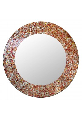 "DecorShore 24"" Traditional Round Mosaic Mirror, Wall Mirror, Decorative Wall Mirror (Orange Citrine)"