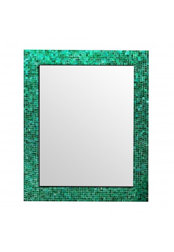 "DecorShore 30"" x 24"" Glass Mosaic Framed Decorative Wall Mirror, Handmade Eclectic Accent Mirror, Unique Vanity Mirror (Green Blue Slate)"