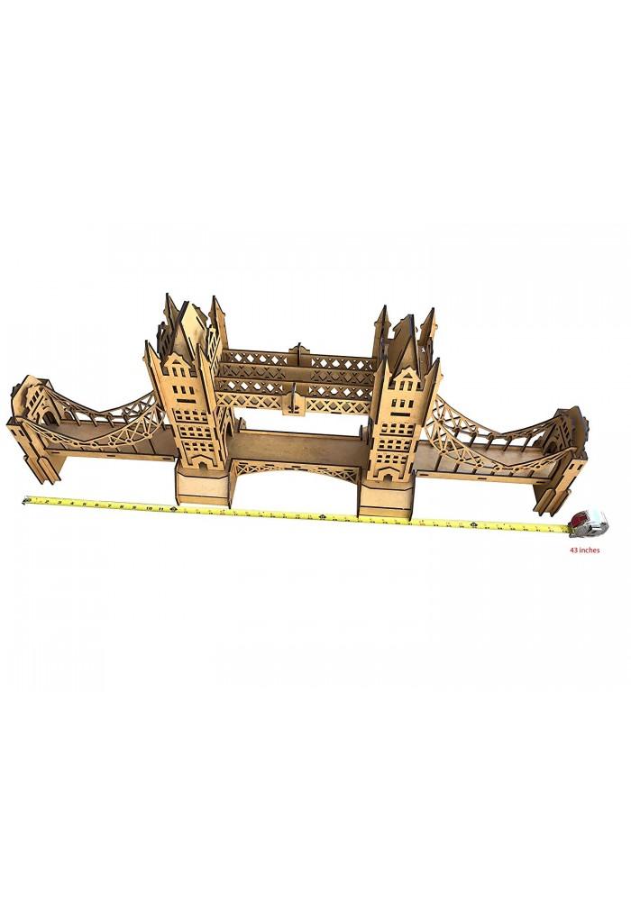 London's Tower Bridge Architectural Replica Statue - Large 42.5 inch Decorative Wooden Accent Landmark Bridge Statue -