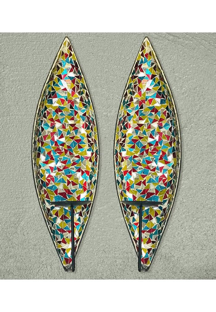"DecorShore ""Bella Palacio"" Glass Mosaic & Metal Wall Mounted Decorative Candle Holder Wall Sconce"