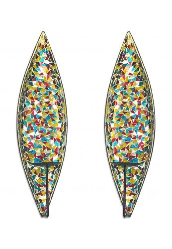"DecorShore ""Bella Palacio"" Glass Mosaic & Metal Wall Mounted Decorative Candle Holder Wall Sconce, Set of 2, Light Weight Wall Decor"