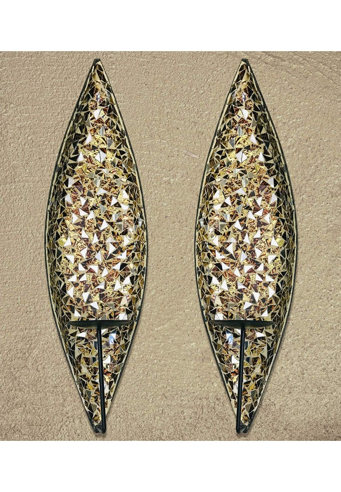 "DecorShore ""Bella Palacio"" Glass Mosaic & Metal Wall Mounted Decorative Candle Holder Wall Sconce"