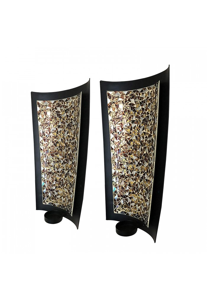 DecorShore Mosaic Wall Sconces Tealight Candle Holders - Abstract Metal Wall Art Candle Sconces Pair