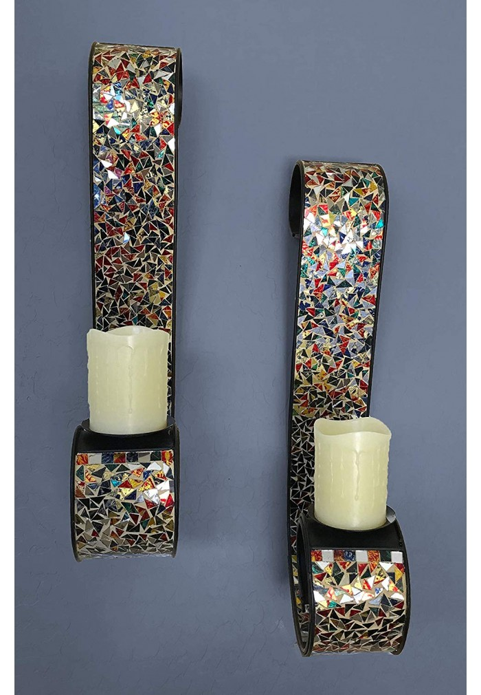 "DecorShore ""Bella Palacio"" Metal Wall Sconce, 23 in. Decorative Mosaic & Iron Scroll Candle Holder (Gemstone Rainbow)"