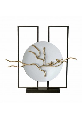 "DecorShore Handcrafted ""Balanced Tranquility"" Decorative Platter & Abstract Art, Home Decor Accent Statue - Ornate Song Birds on Tree Branch, White Charger Plate & Metal Stand 20 in. x 20 in. x 3 in."
