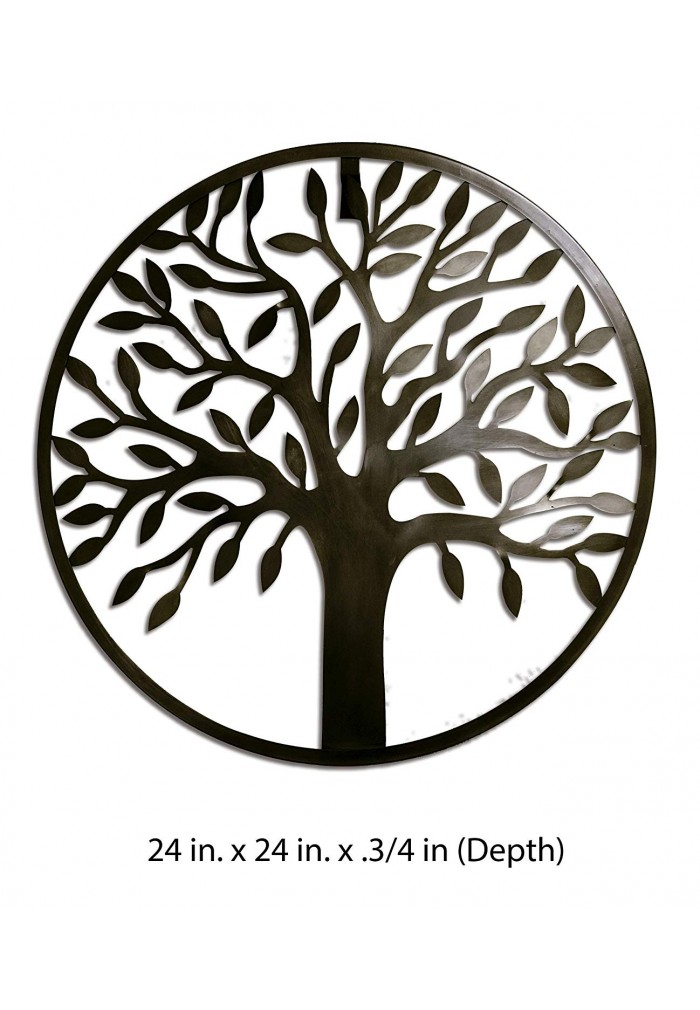 """DecorShore """"Harmony"""" Contemporary Round Wall Sculpture, 24 Inch Traditional Metal Tree Wall Decor in Antique Bronze Finish"""