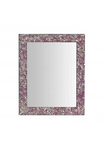 "30"" X 24"" Multi-Colored Magenta & Silver, Luxe Mosaic Glass Framed Wall Mirror, Decorative Embossed Glass Mosaic Rectangular Vanity Mirror"