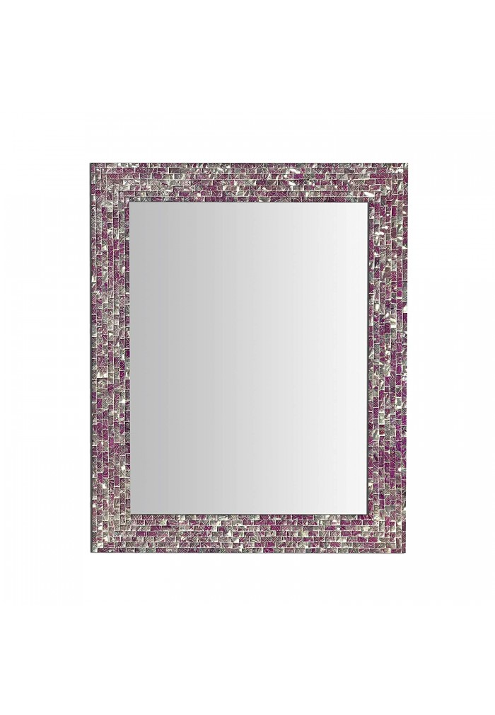 Multi-Colored Magenta & Silver, Luxe Mosaic Glass Framed Wall Mirror, Decorative Embossed Glass Mosaic Rectangular Vanity Mirror