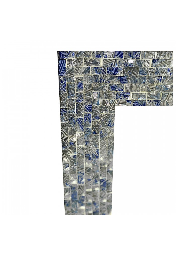 "Multi-Colored Cobalt Blue & Silver, Luxe Mosaic Glass Framed Wall Mirror, Decorative Rectangular Vanity Mirror(30"" X 24"")"
