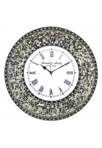 "DecorShore 22.5"" Mosaic Wall Clock, Decorative Round Wall Clock (Fired Silver)"