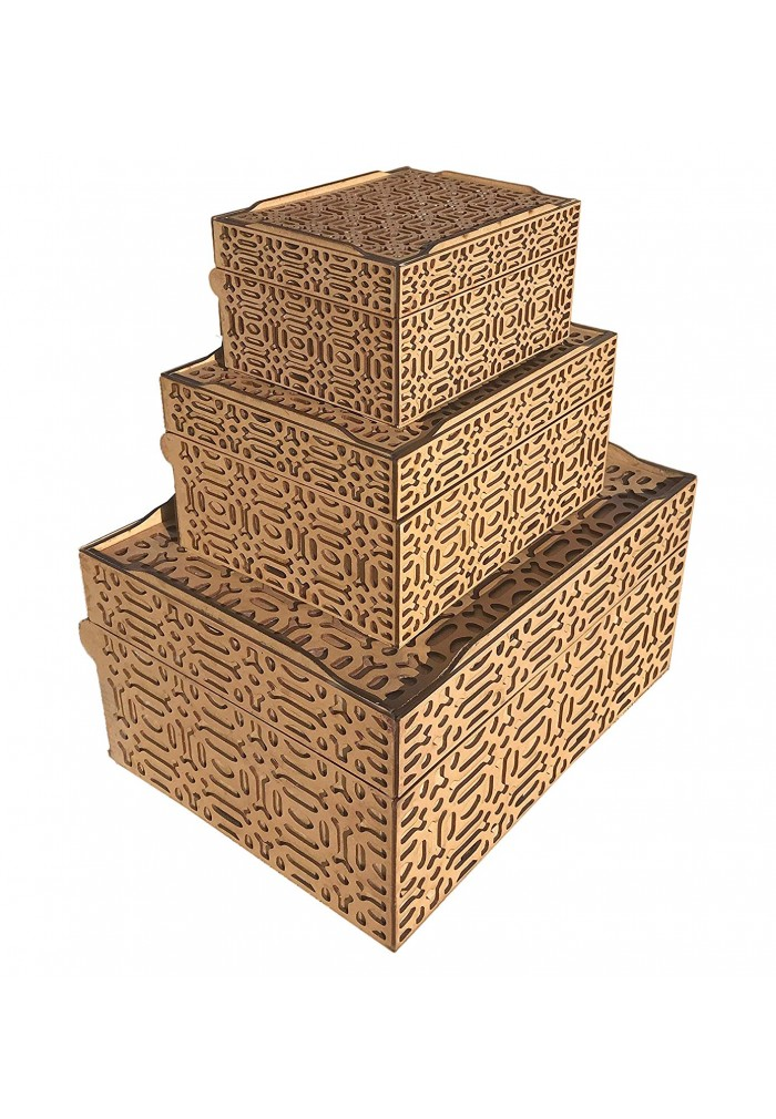 Set of 3 Decorative Nested Storage Boxes, Stackable Wooden & Hinged Lid Trinket Chest with Intricate Geometric Wood Carving